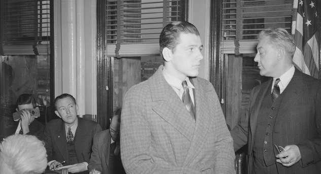 Stanley Tomaszewski at a public hearing about the fire. Photo courtesy Boston Public Library, Leslie Jones Collection.