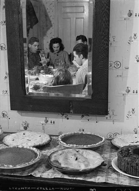 Pumpkin pies and Thanksgiving dinner at the home of Mr. Timothy Levy Crouch, a Rogerine Quaker living in Ledyard, Connecticut. Photo by Jack Delano, 1940. Photo courtesy Library of Congress.