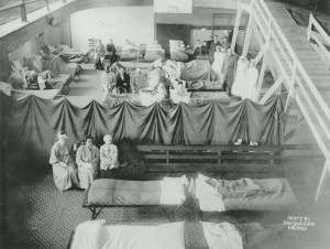 Red Cross workers ready to treat victims of the Halifax explosion in temporary quarters in the YMCA.