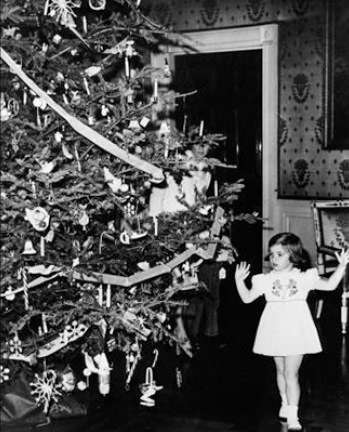 Caroline Kennedy checks out the Nutcracker tree. Photo courtesy John F. Kennedy Library and Museum.
