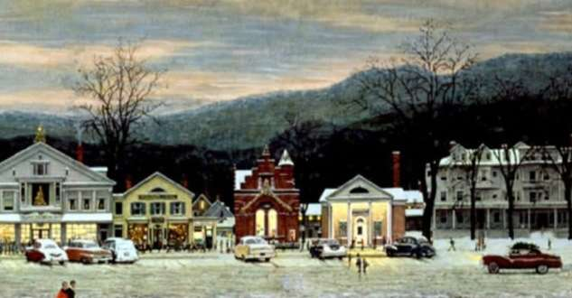 Detail from 'Stockbridge Main Street at Christmas'