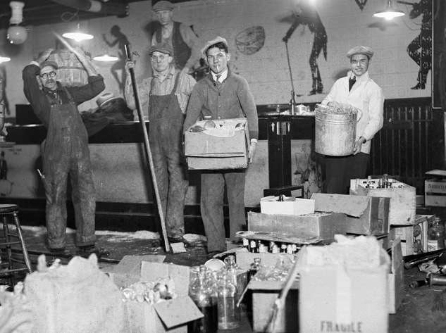 Speakeasy at 153 Causeway Street, raided and destroyed by Federal agents. 'The most elaborate joint ever built in Boston.' Photo courtesy Boston Public Library, Leslie Jones Collection.