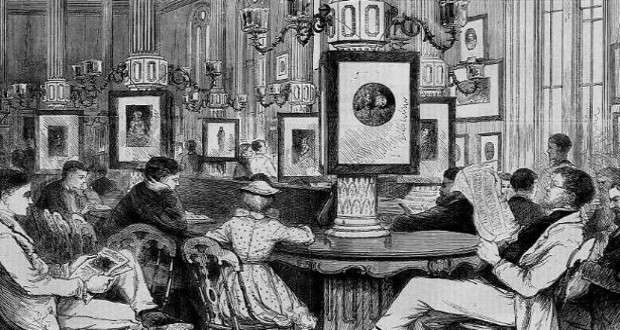 Reading Room of the Boston Public Liblrary, 1871.