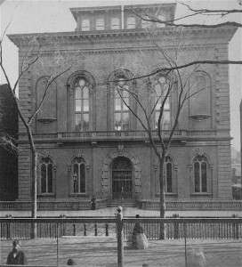 Boston Public Library on Boylston Street, 1871. Photo courtesy Boston Public Library.