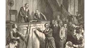 Depiction of Samuel Gorton on Trial in Portsmouth, R.I.