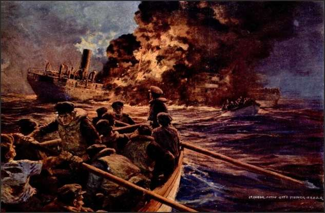 Painting of a burning tanker in the North Atlantic by Lt. Cmdr. Anton Otto Fischer, USCGR