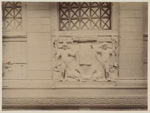 Plaster cast of Gaudens' marble group holding library seal. Image courtesy Boston Public Library.