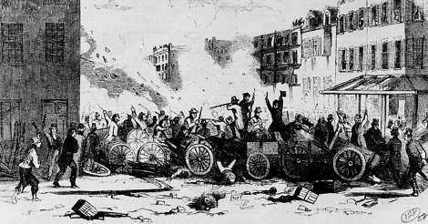 Riot Between the Bowery Boys and the Dead Rabbits gangs in 1857 (NY Public Library)