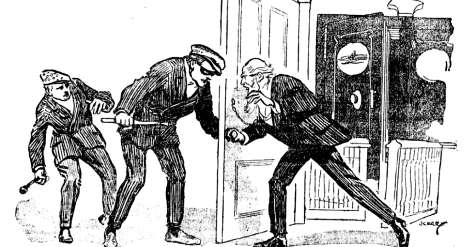Newspaper illustration of the Dexter Savings Bank robbery of 1878
