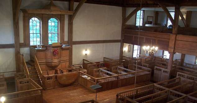 The Old Ship Church in Hingham, Mass., didn't have a stove until 1822. Photo courtesy Library of Congress.