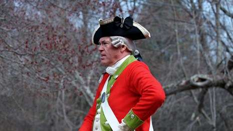 A reenactor at Minute Man National Historic Park