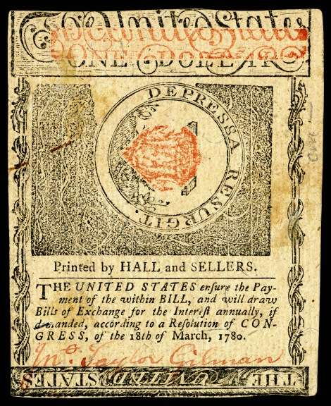 A New Hampshire $1 note from 1780