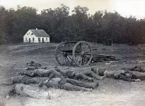 Dead confederate artillery men littering the battlefield at Antietam