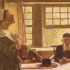 Quaker Mary Dyer brought before Gov. John Endecott (painting by Howard Pyle)