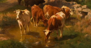 Cow Resting in a Meadow, by George Allen Newell