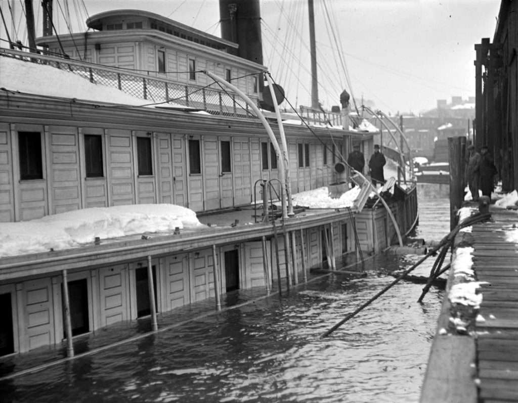 City of Rockland sunk at her pier in 1921 (Leslie Jones photo, Boston Public Library)