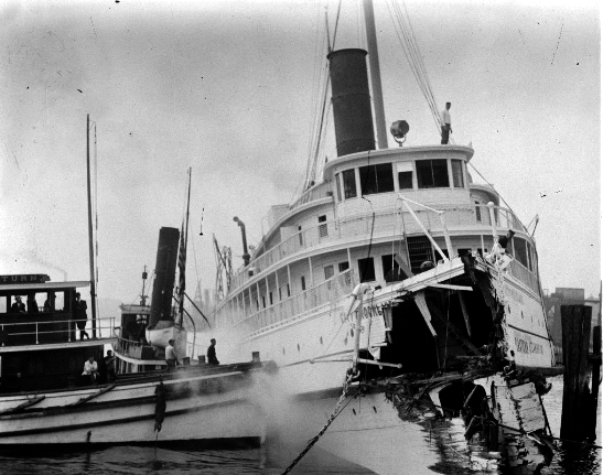 City of Rockland after collision with the H.P. Havens (Leslie Jones photo, Boston Public Library)