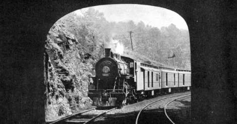 Train entering a tunnel.