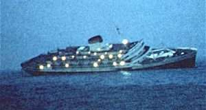 Andrea Doria at dawn after the ollision