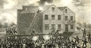 Engraving of the riot at Alton, Ill. where Elijah Lovejoy was killed.