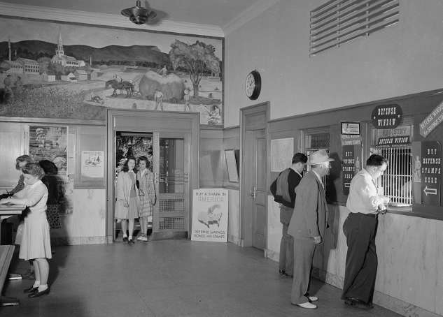 Southington Post Office lobby. Photo courtesy Library of Congress.