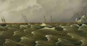 The Great Gale of 1846, fireboard by William Bartoli. Courtesy Peabody Essex Museum.