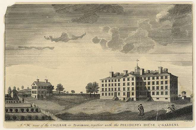 "A black and white engraving by artist David Leonard, class of 1792. First published view of the campus, ""A S.W. view of the College in Providence together with the President's House and Gardens."" Providence, 1792."