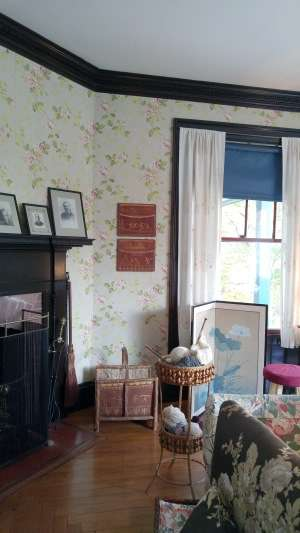 The two pieces of artwork on the wall next to the window at FDR's summer home were created by Tomah Joseph.