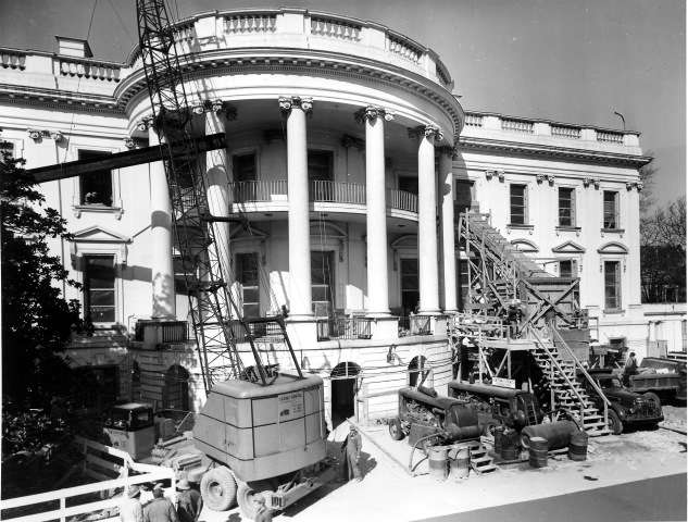 Removing debris from the White House. Courtesy National Park Service.