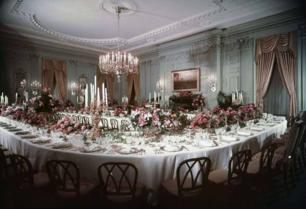 The celadon green walls of the State Dining Room.