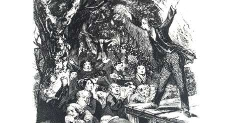 Sketch of Lorenzo Dow preaching