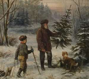 A German father and son collecting a tree, painting by Franz Krüger