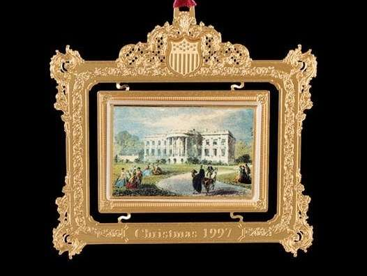 The 1997 Christmas ornament depicting the Pierce White House