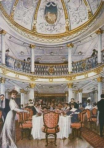The Lusitania's first-class dining room