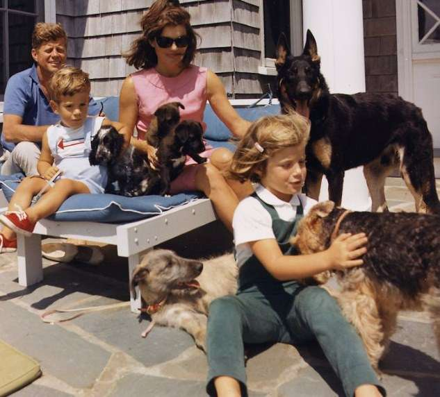 The Kennedy family on vacation with their dogs. Photo courtesy John F. Kennedy Library and Museum.