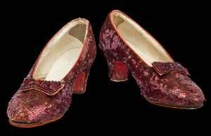 The ruby slippers in the Smithsonian Institute National Museum of American History.