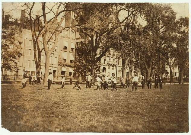 Amateur football played on Boston Common 1909, photo by Lewis Hine. Courtesy Library of Congress.