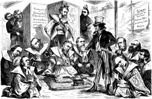 Political cartoon about the Credit Mobilier scandal
