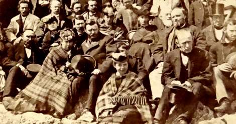 Stereo-graph photo of Ulysses Grant atop Mount Washington in 1869.