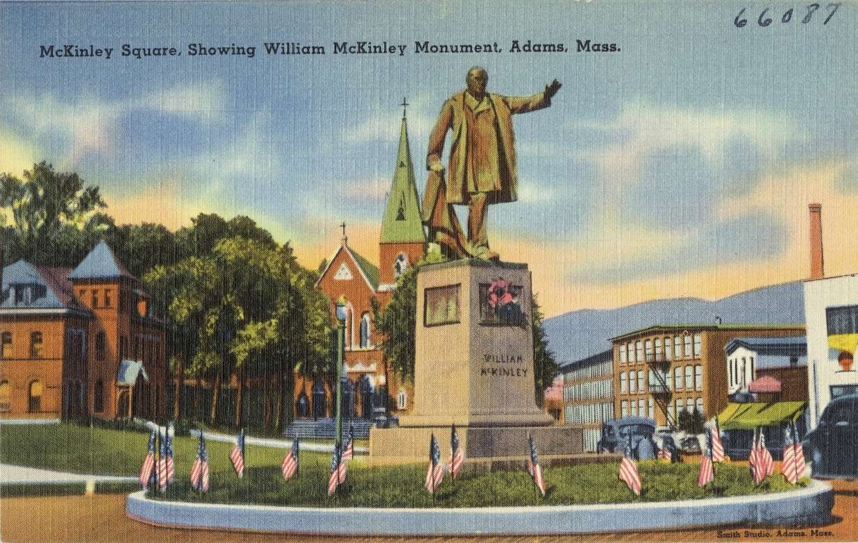 Postcard showing statue of William McKinley at Adams, Mass.