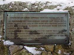 Plaque marking the spot where the attackers left their snowshoes