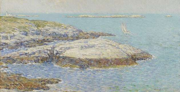 Detail from Isles of Shoals painting by Childe Hassam