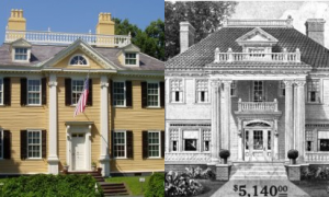 Many Sears houses were modeled after historic New England homes. The Magnolia, right, was based on the Longfellow home in Cambridge, Mass.