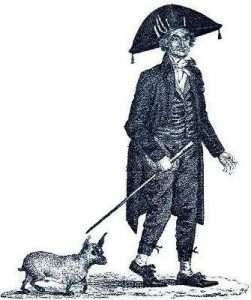 Lord Timothy Dexter with his hairless dog