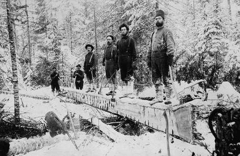 Winter in a logging camp, 1895