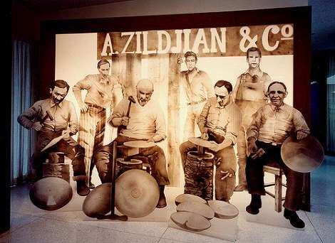 Display of cymbal makers in the Zildjian corporate lobby