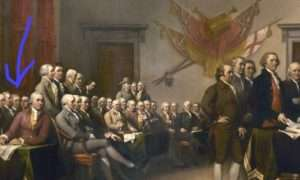 Detail from John Trumbull's 'The Declaration of Independence. Arrow points to Bartlett.