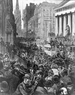 A newspaper illustration from Harper's Weekly, depicting the scene on Wall Street on the morning of May 14, 1884.