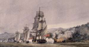 Painting of the Battle of Valcour Island from the Canadian National Archives