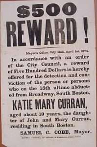 Poster offering a reward for the capture of Jesse Pomeroy